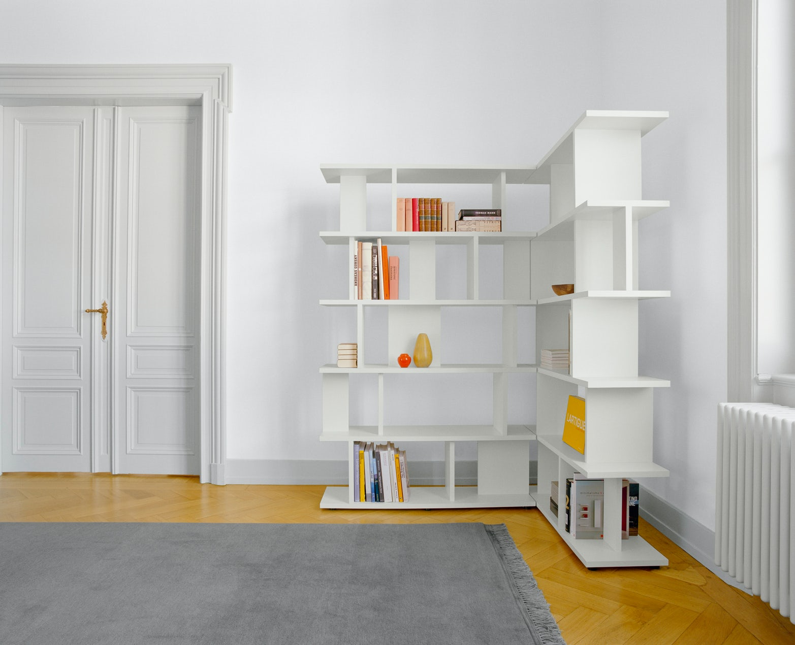 white MDF Arie shelf in large room