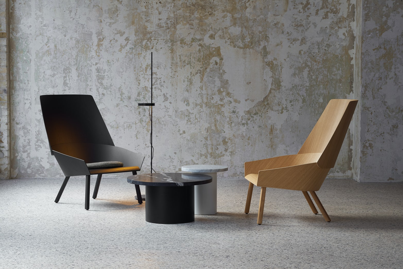 oak and black lacquer e15 eugene lounge chairs with enoki tables