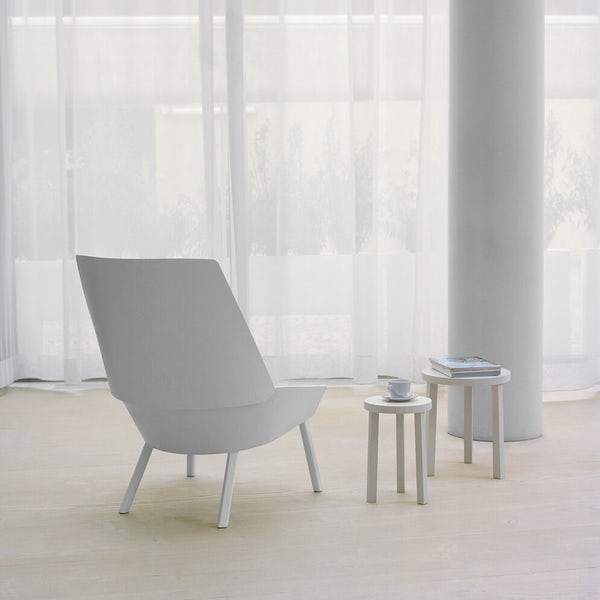 e15 white eugene lounge chair with alex nesting tables