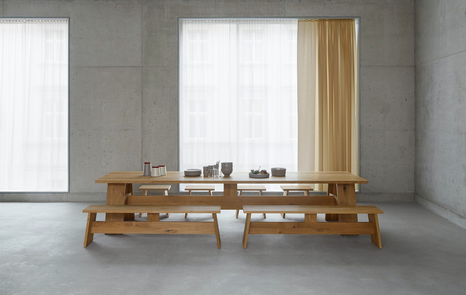 FAYLAND table by e15 with Fawley bench and Langley stool 8