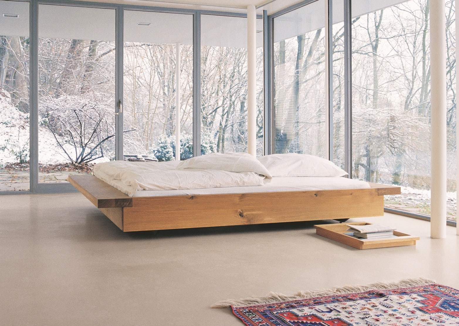 e15 theo tray in oiled oak next to noah bed