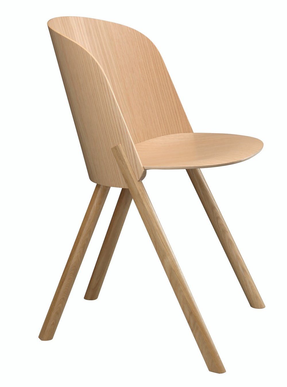 e15 this side chair in oak veneer